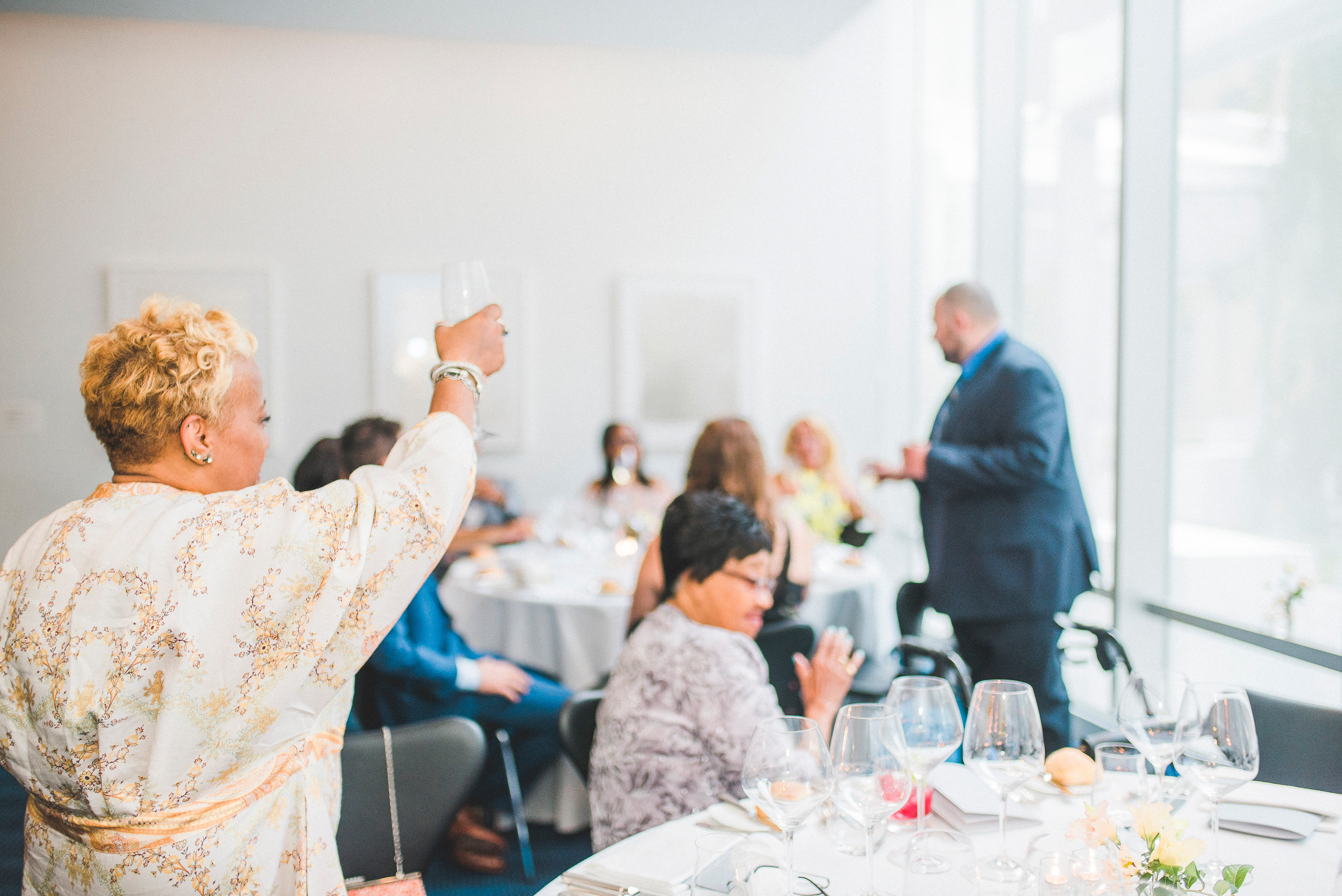 Wedding toast the modern NYC midtown manhattan wedding reception speech toast champagne drinks
