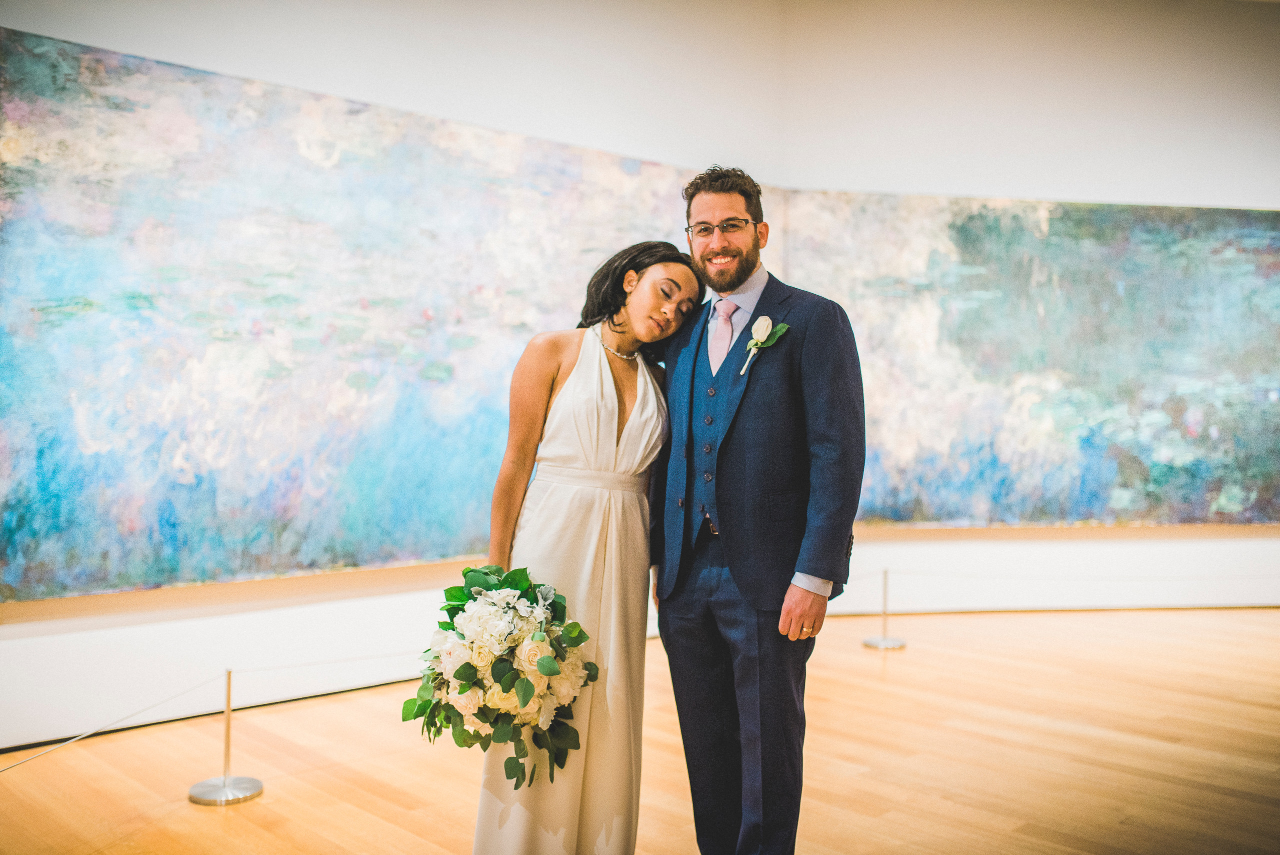 Bride and Groom Water Lilies Monet MoMA Museum Fine Art NYC wedding
