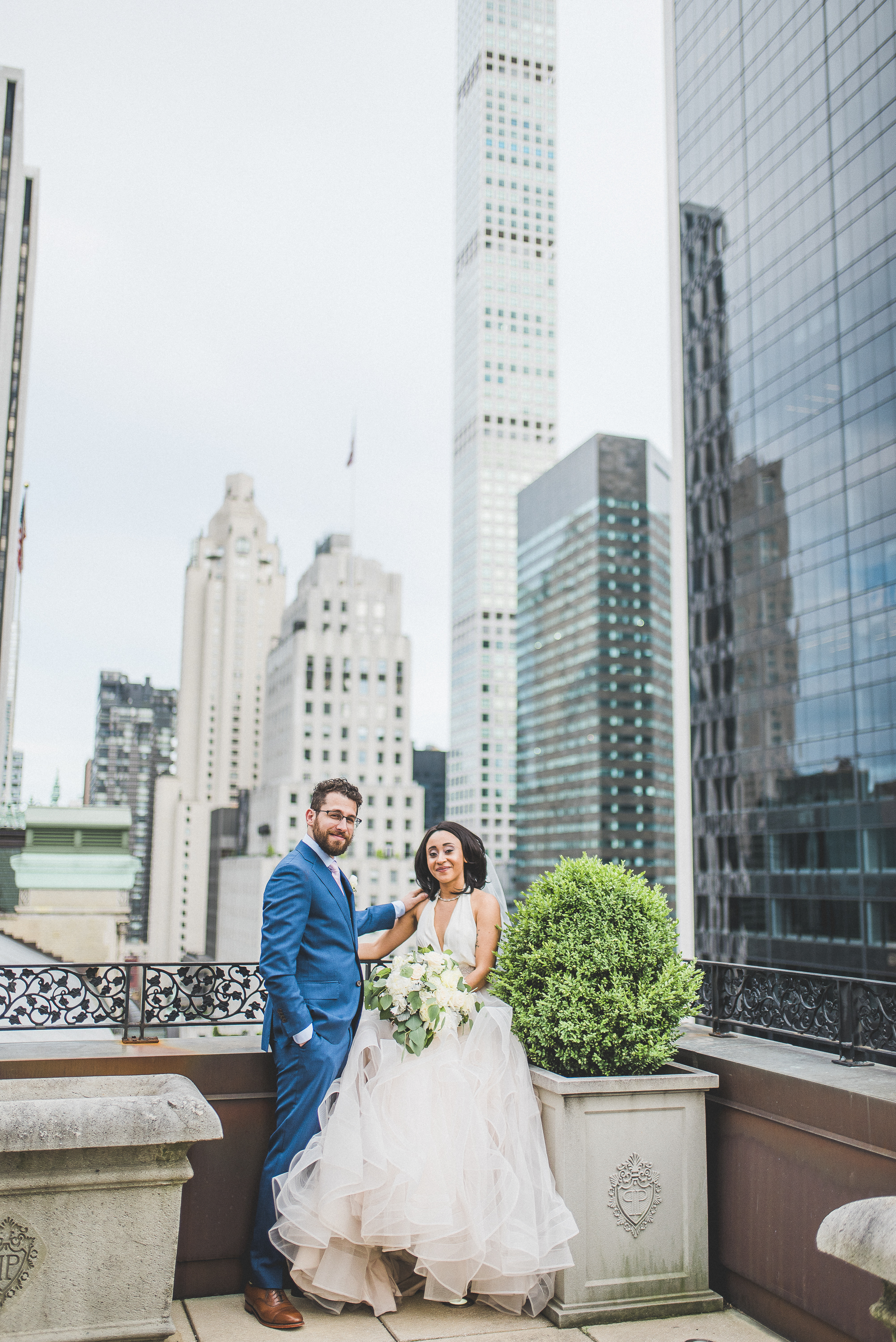 Bride and groom Plaza Hotel Suite rooftop NYC wedding inspiration midtown