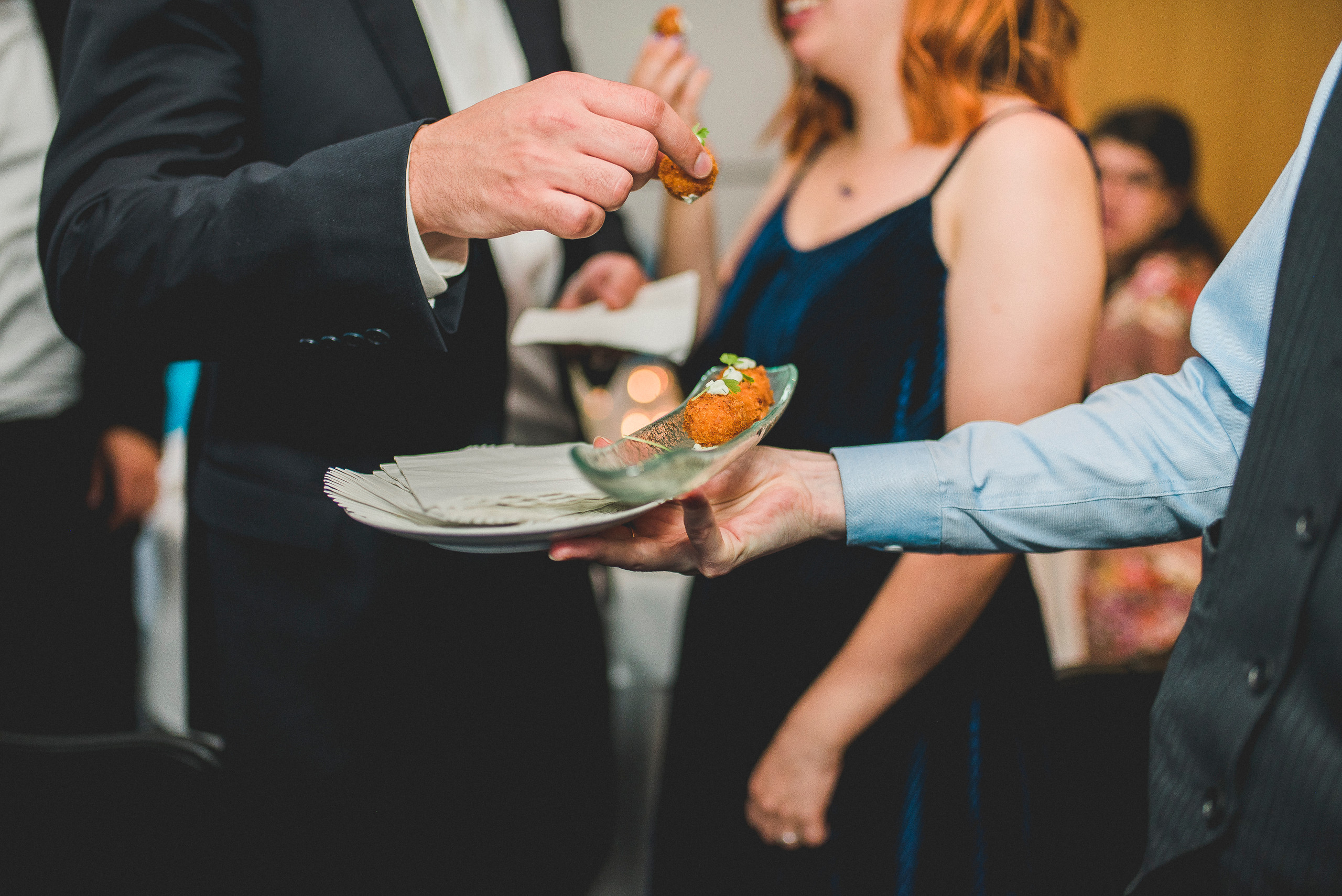 Food at The Modern NYC manhattan hors d'oeuvres wedding reception server