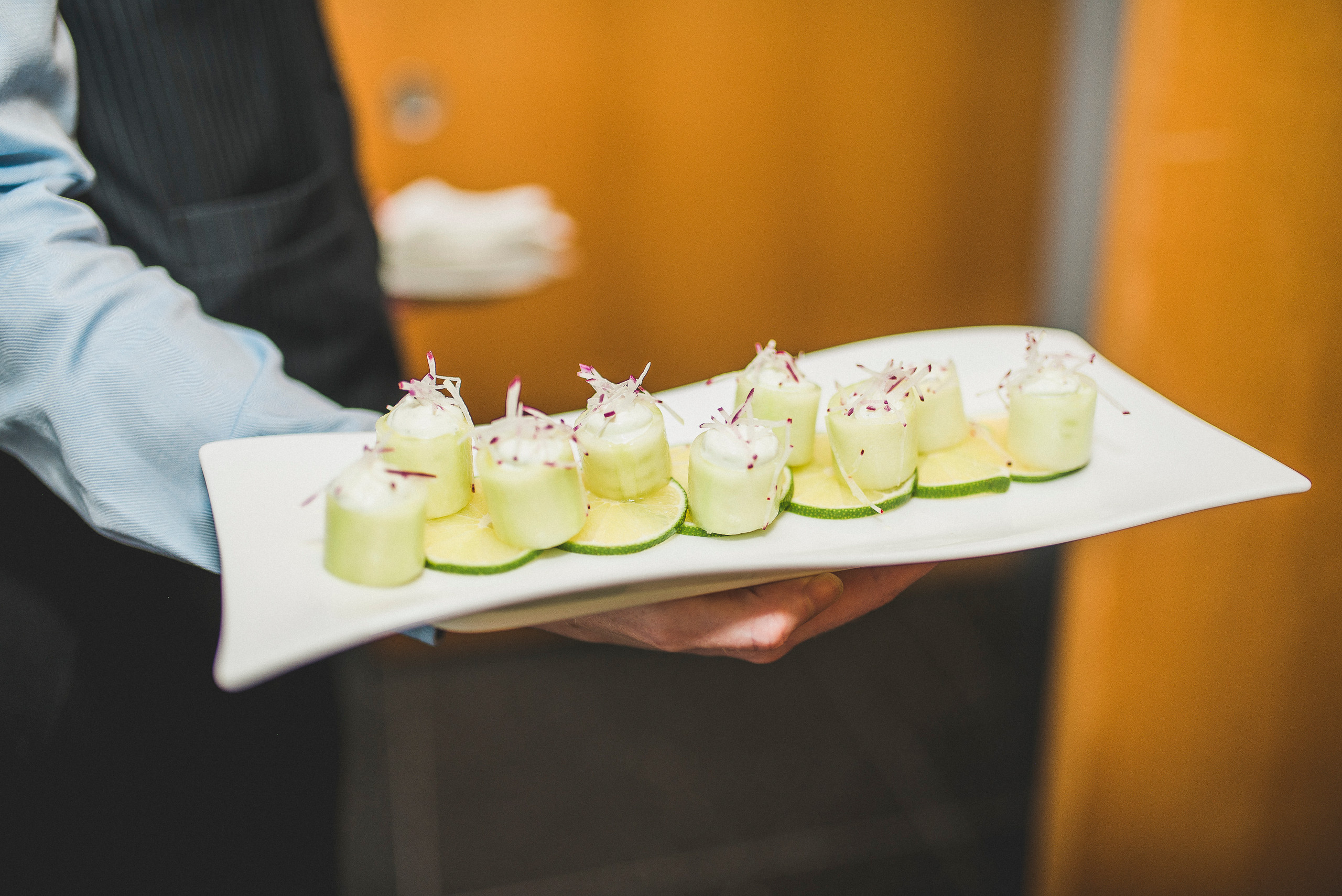 Food at The Modern NYC manhattan hors d'oeuvres wedding reception server food
