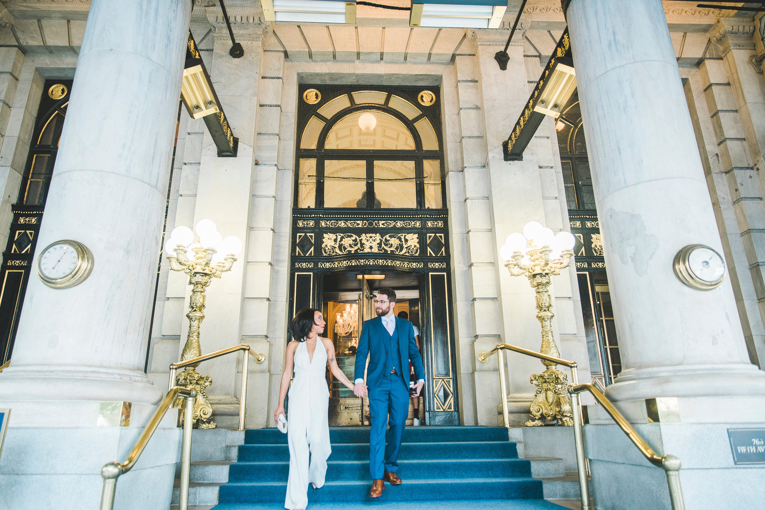 bride and groom Leaving the Plaza Hotel NYC wedding manhattan