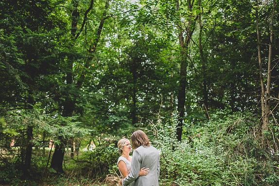 bride and groom portrait in green nature