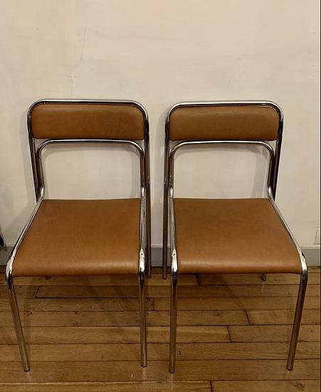 Chaises 70's chrome et Skaï
