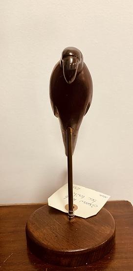 Perroquet bois et bec laiton sur socle