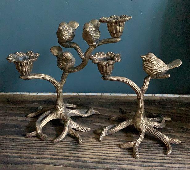 Chandeliers oiseaux bronze