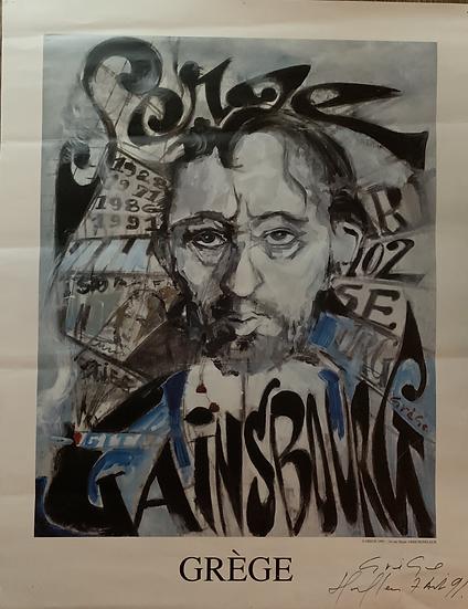 Lithographie Serge Gainsbourg par R Grège