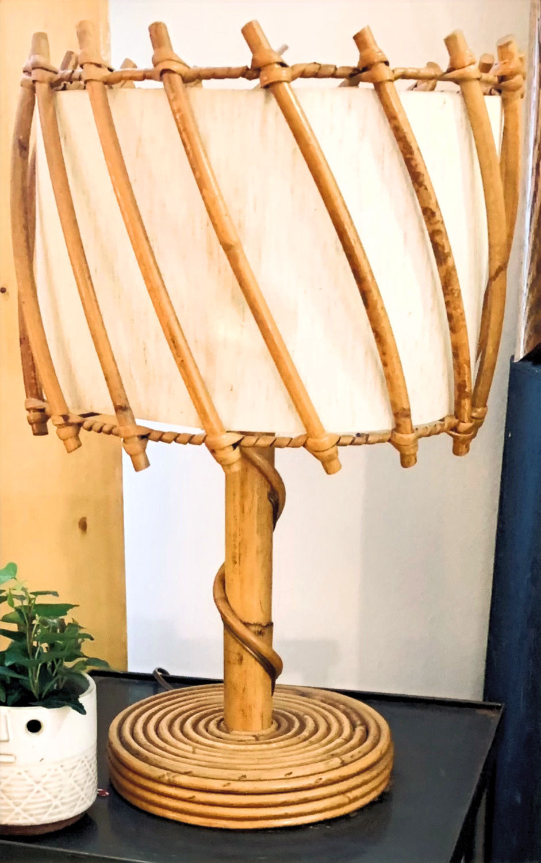 Lampe rotin annés 50