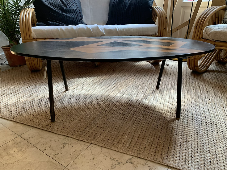 Table basse ovale années 60