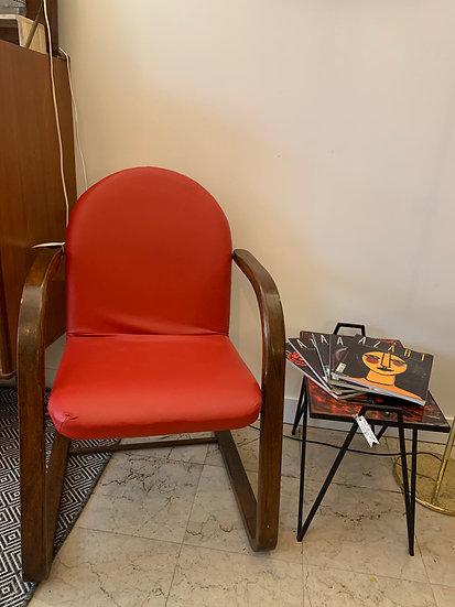 chaise à bascule bois et skaï