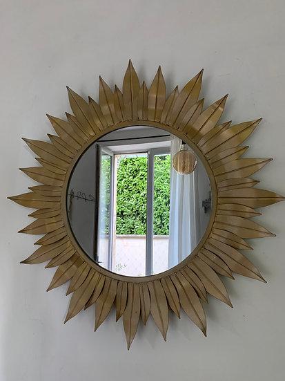 Grand miroir métal feuilles