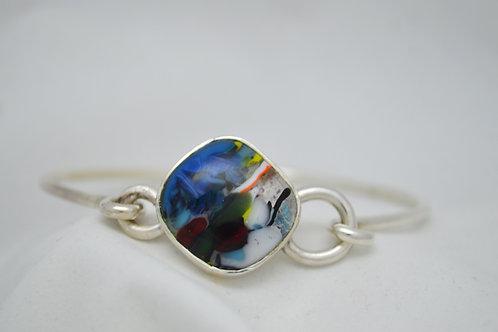 Glass Silver Clasp Bangle 1