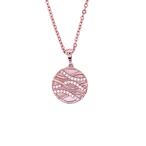 9 ct Rose Gold CZ Ripples Pendant