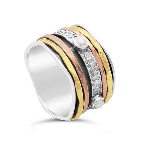 Virgo - Pearl Sterling Silver Spin Ring