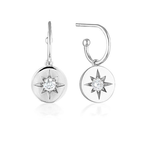 Georgini - Stellar Lights Silver Drop Hoop Earrings