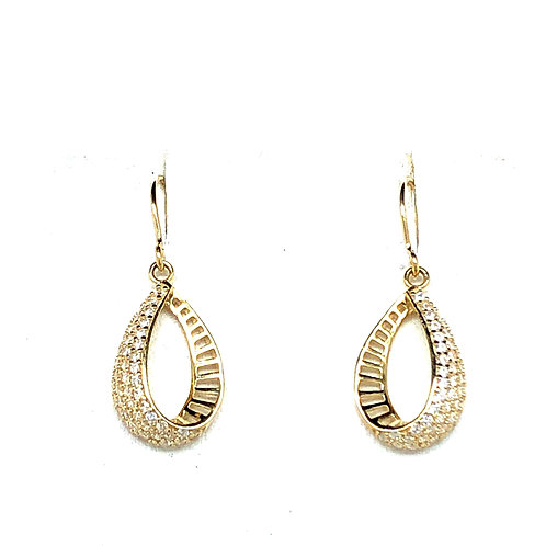 Yellow Gold CZ drop earrings
