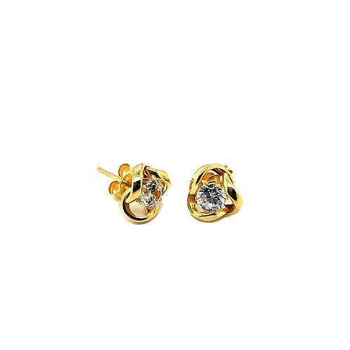Yellow Gold Stone Set Knot earrings