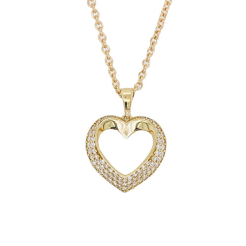 9 ct Yellow Gold CZ Heart Pendant