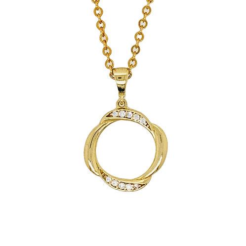 9 ct Yellow Gold CZ Circle Twist Pendant