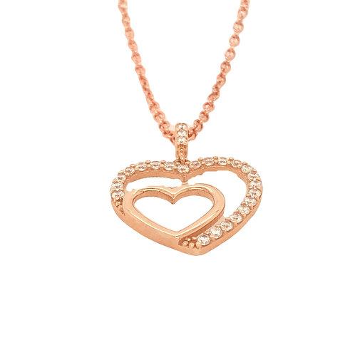 9 ct Rose Gold CZ Double Heart Pendant