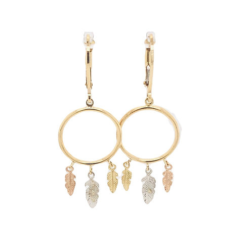 3 Tone Gold Feather Earrings