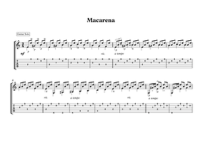 Macarena Guitar Solo Sheet Music Spanish Traditional