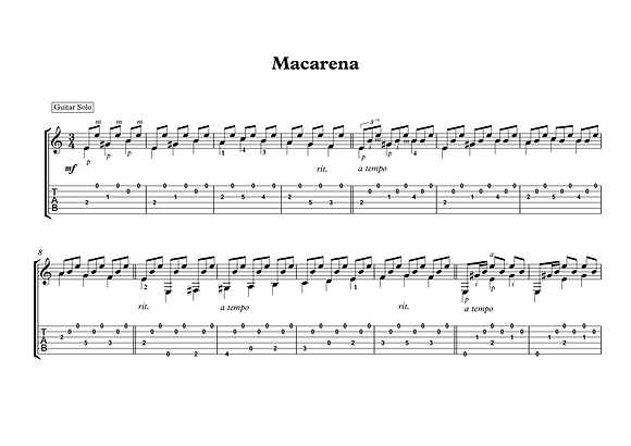 Macarena Spanish traditional guitar solo sheet  music