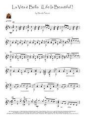 Life Is Beautiful (La Vita E Bella) guitar score (no tablature) Movie Themes