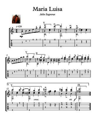 Maria Luisa Guitar score by sagreras