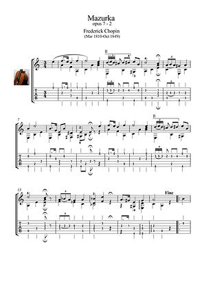 Mazurka 7-2 by Chopin guitar solo sheet music