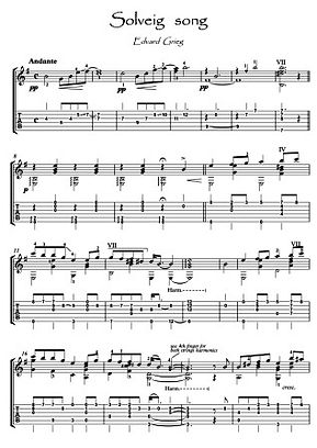 Solveig's Song by Grieg for Classical Guitar