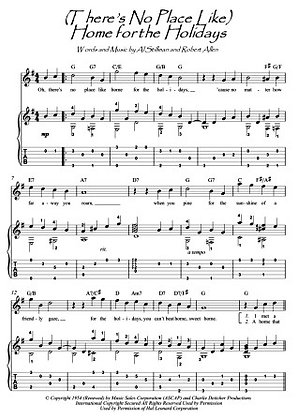 (There's No Place Like) Home For The Holidays guitar fingerstyle score download