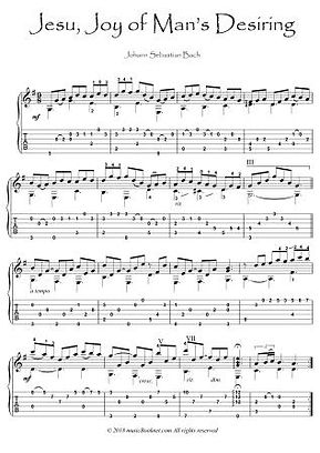 Jesu Joy of Man's Desiring Bach guitar sheet music download