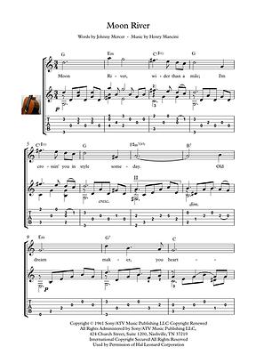 Moon River Guitar Solo Sheet Music Mercer Mancini  Movie Themes