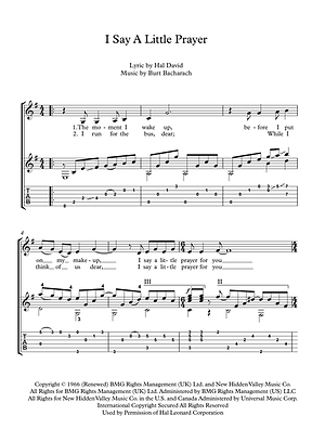 I Say A Little Prayer Guitar Solo Sheet Music Franklin