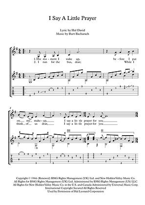 I Say A Little Prayer guitar solo sheet music