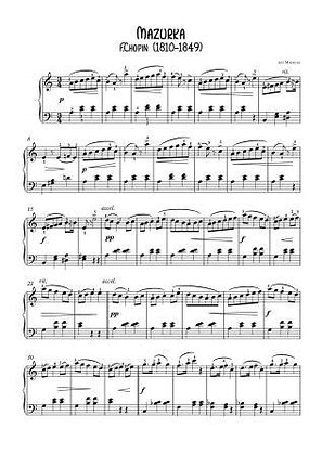 Mazurka opus 7-3 by Chopin for easy piano pdf download