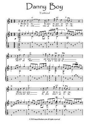 Danny Boy Flute guitar duet score download Traditional