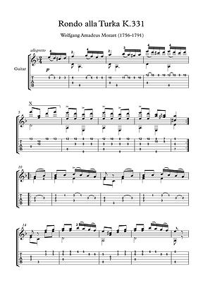 Rondo K331 Guitar Solo Sheet Music Mozart