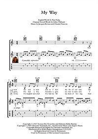 My Way classical guitar solo score