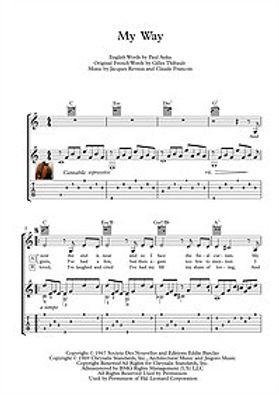 My Way Classical Guitar Solo Score Sinatra