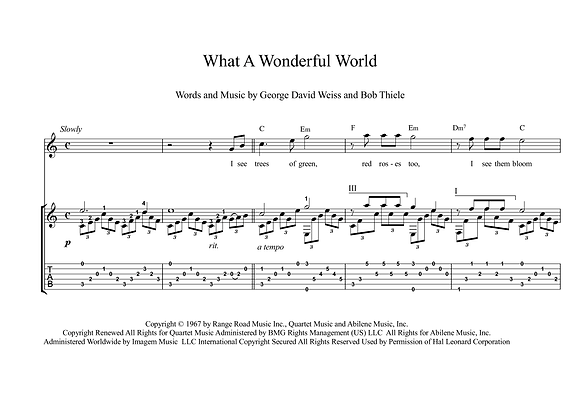 What A Wonderful World classical guitar sheet music