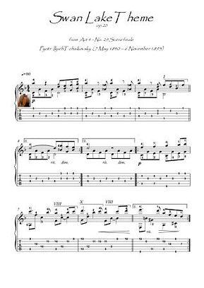 Swan Lake Theme guitar solo score download