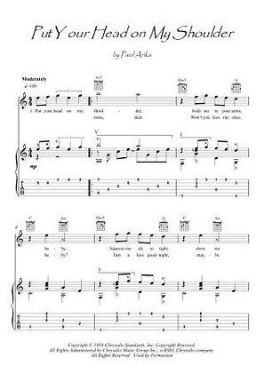 Put Your Head On My Shoulder guitar score download