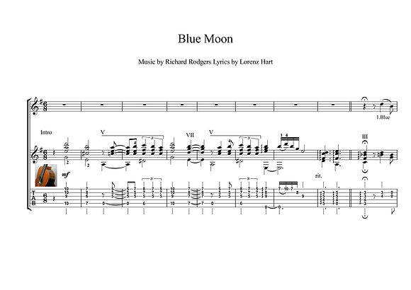 Blue Moon classical guitar solo score download