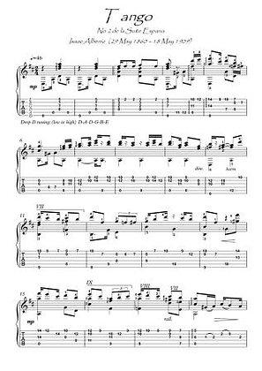 Tango by Albeniz guitar solo score download