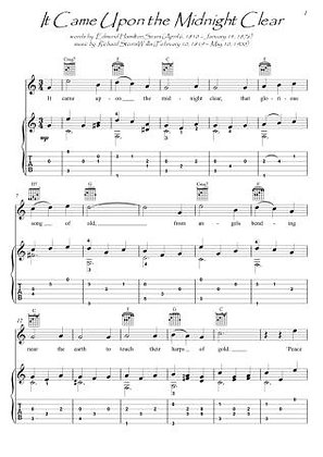 It Came Upon the Midnight Clear guitar fingerstyle score download