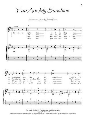 You Are My Sunshine guitar fingerstyle score download