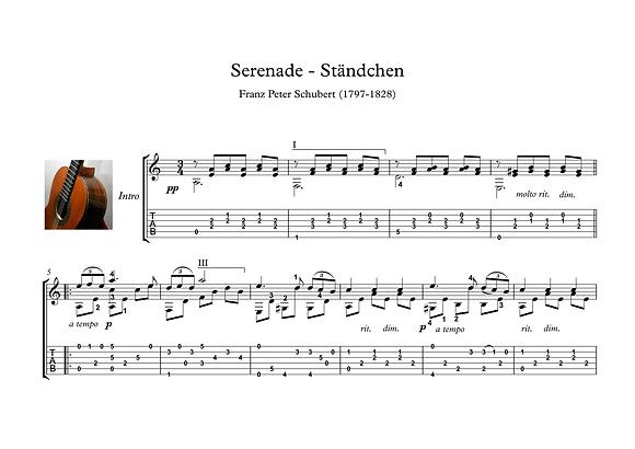 Serenade by Schubert guitar solo sheet music