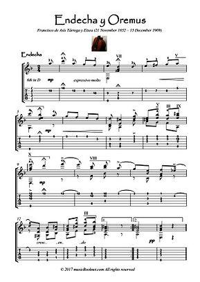 Endecha y Oremus - Mourn and Pray guitar score by Tarrega